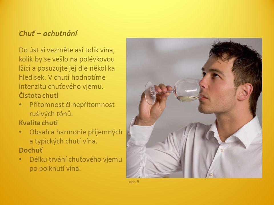 Chuť – technika Víno v ústech hezky poválejte po celém jazyku tak, aby se dostalo na všechny chuťové pohárky, tedy čtyři základní chuťové směry: sladkou, slanou, kyselou a hořkou.