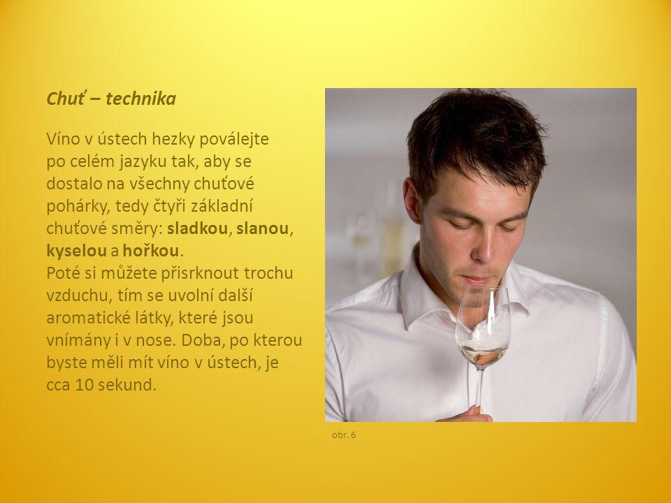 Chuť – technika Víno v ústech hezky poválejte po celém jazyku tak, aby se dostalo na všechny chuťové pohárky, tedy čtyři základní chuťové směry: sladk