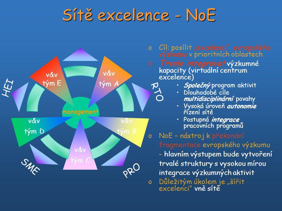 """Sítě excelence - NoE oCíl: posílit """"excelenci"""" evropského výzkumu v prioritních oblastech oTrvale integrovat výzkumné kapacity (virtuální centrum exce"""