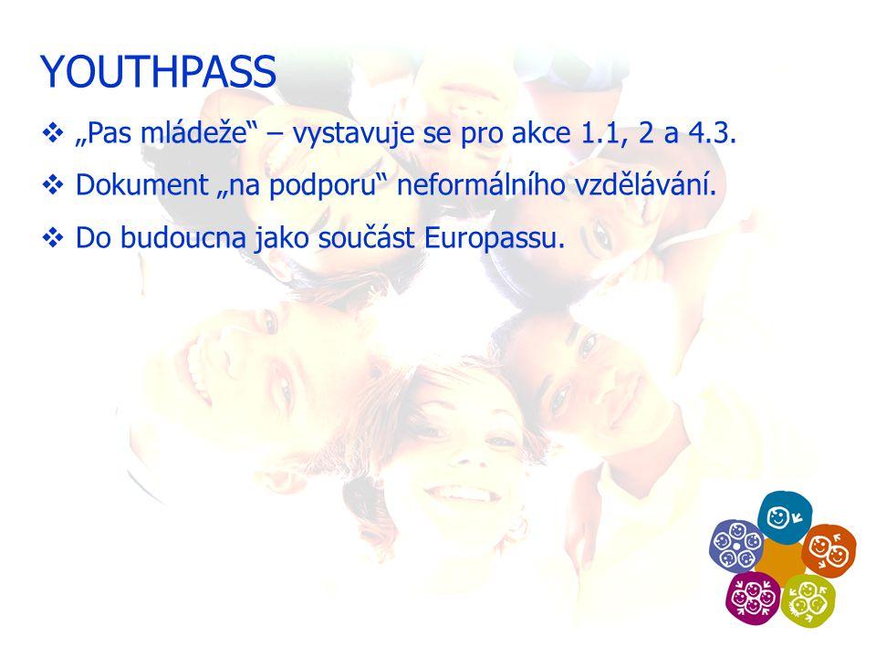 """YOUTHPASS  """"Pas mládeže – vystavuje se pro akce 1.1, 2 a 4.3."""