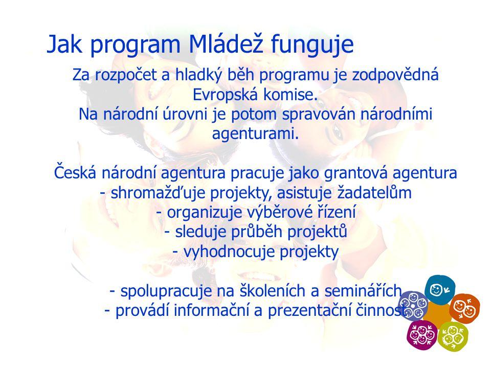 Jak program Mládež funguje Za rozpočet a hladký běh programu je zodpovědná Evropská komise.