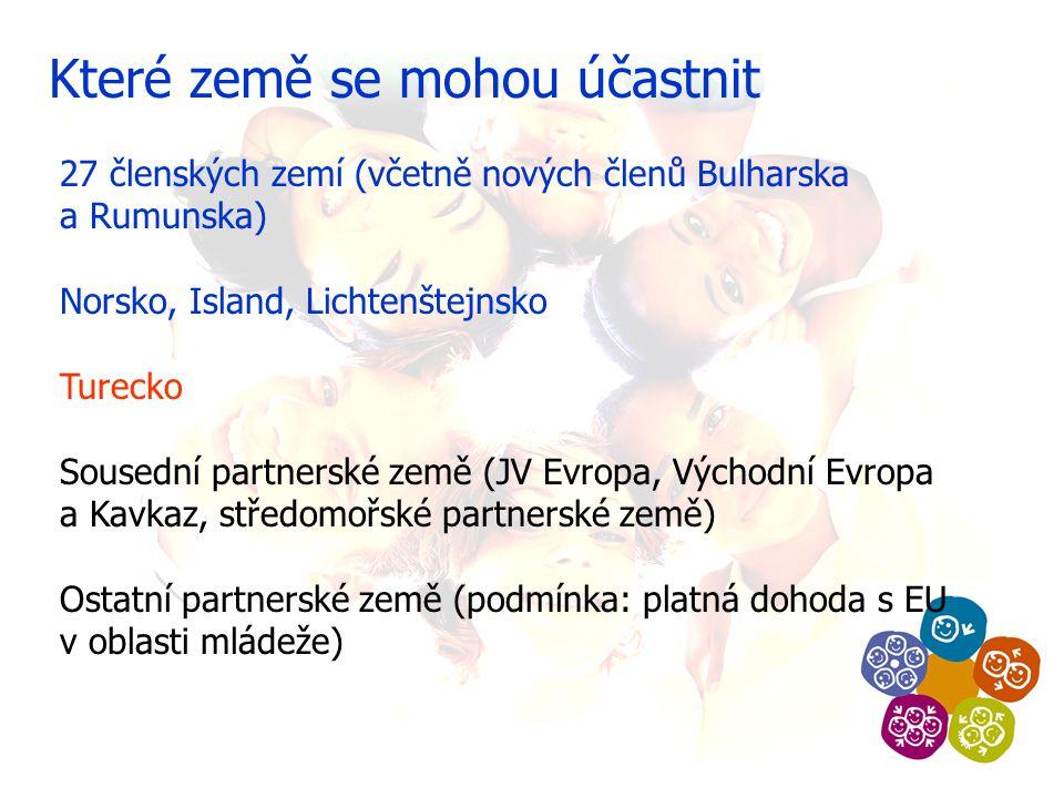 Které země se mohou účastnit 27 členských zemí (včetně nových členů Bulharska a Rumunska) Norsko, Island, Lichtenštejnsko Turecko Sousední partnerské země (JV Evropa, Východní Evropa a Kavkaz, středomořské partnerské země) Ostatní partnerské země (podmínka: platná dohoda s EU v oblasti mládeže)