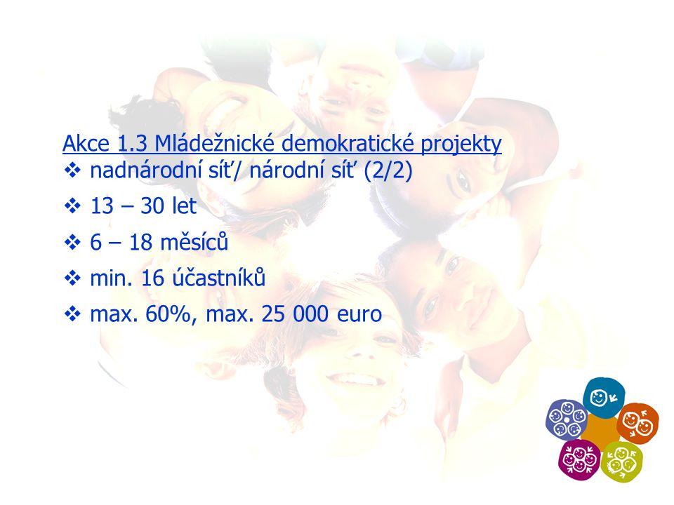 Akce 1.3 Mládežnické demokratické projekty  nadnárodní síť/ národní síť (2/2)  13 – 30 let  6 – 18 měsíců  min.