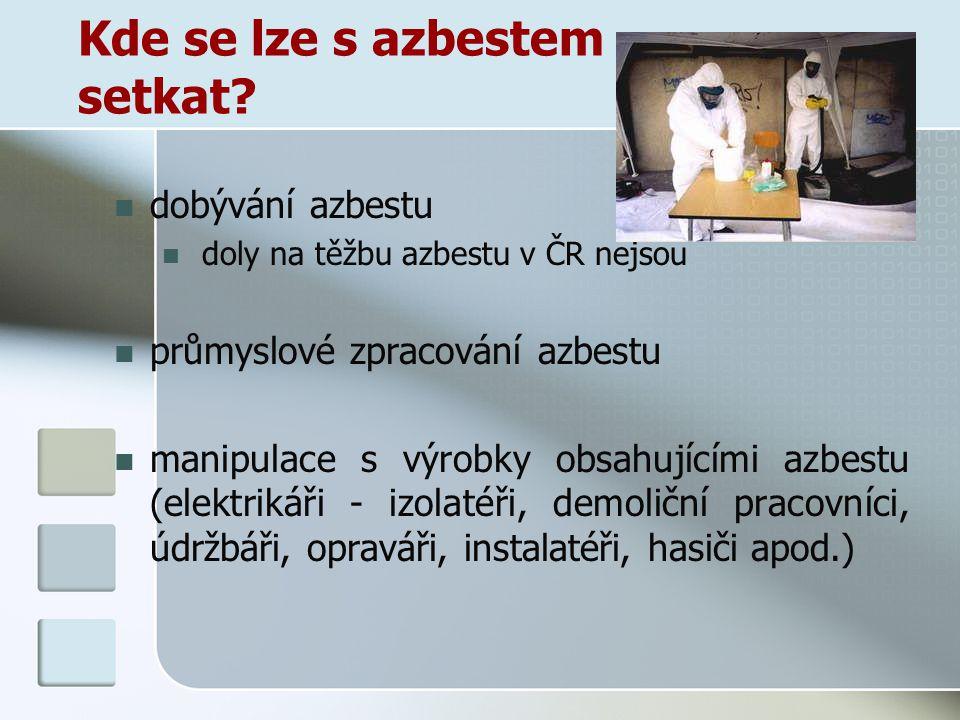 Kde se lze s azbestem setkat? dobývání azbestu doly na těžbu azbestu v ČR nejsou průmyslové zpracování azbestu manipulace s výrobky obsahujícími azbes