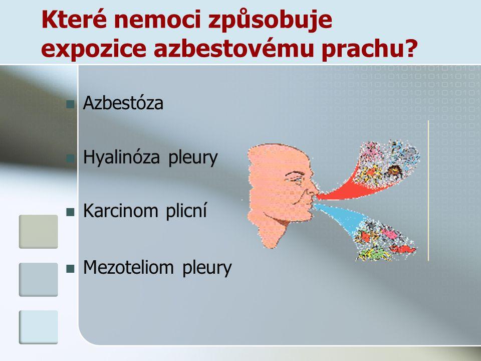Které nemoci způsobuje expozice azbestovému prachu? Azbestóza Hyalinóza pleury Karcinom plicní Mezoteliom pleury