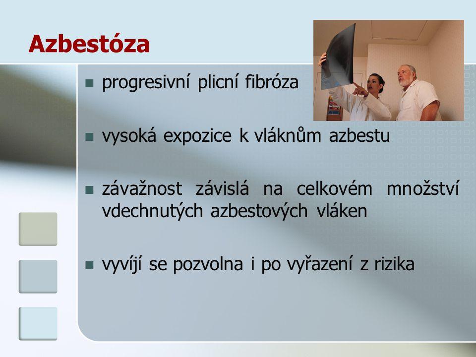 Azbestóza progresivní plicní fibróza vysoká expozice k vláknům azbestu závažnost závislá na celkovém množství vdechnutých azbestových vláken vyvíjí se