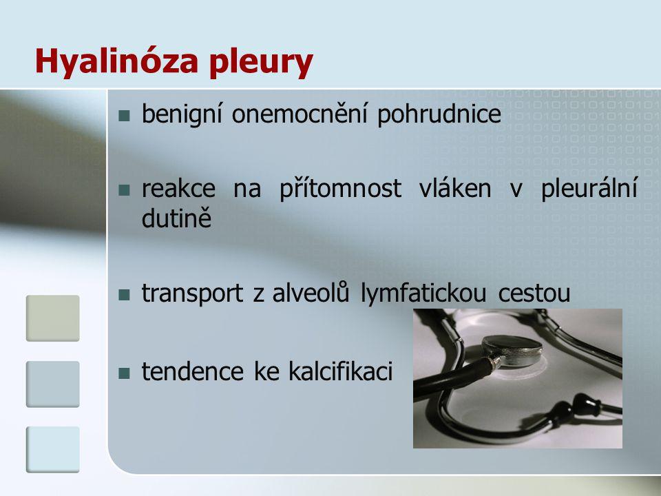 Hyalin ó za pleury benigní onemocnění pohrudnice reakce na přítomnost vláken v pleurální dutině transport z alveolů lymfatickou cestou tendence ke kal