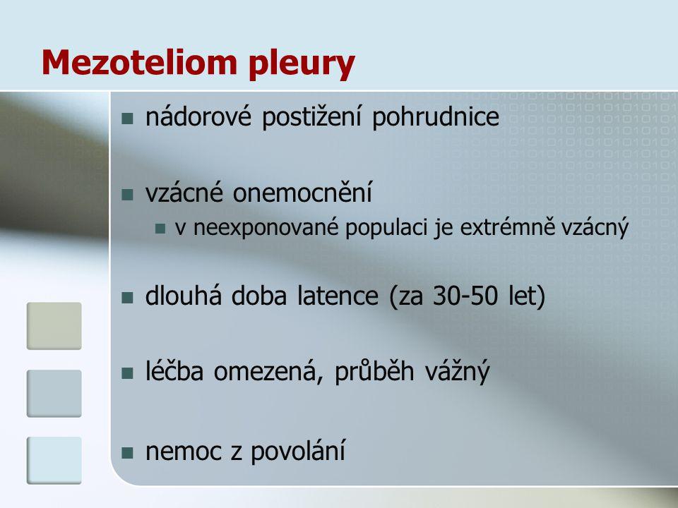 Mezoteliom pleury nádorové postižení pohrudnice vzácné onemocnění v neexponované populaci je extrémně vzácný dlouhá doba latence (za 30-50 let) léčba