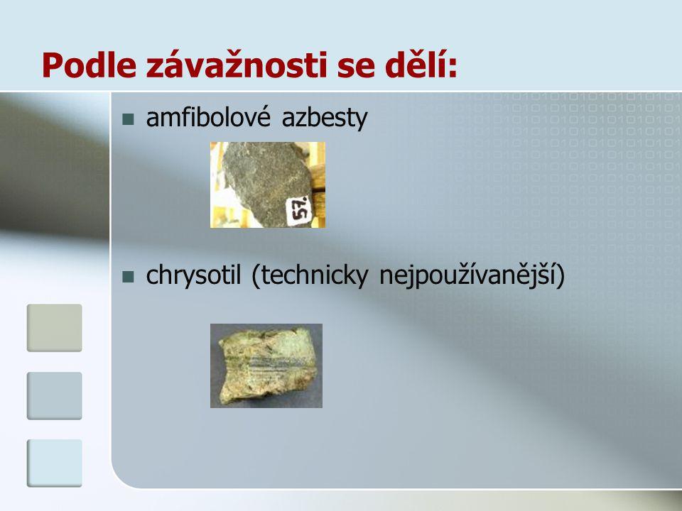 Podle závažnosti se dělí: amfibolové azbesty chrysotil (technicky nejpoužívanější)