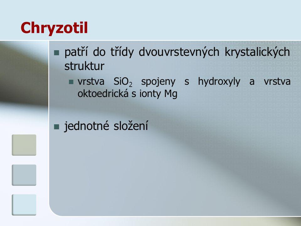 Chryzotil patří do třídy dvouvrstevných krystalických struktur vrstva SiO 2 spojeny s hydroxyly a vrstva oktoedrická s ionty Mg jednotné složení