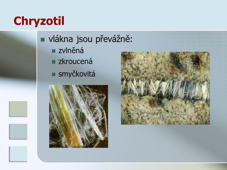 Chryzotil vlákna jsou převážně: zvlněná zkroucená smyčkovitá
