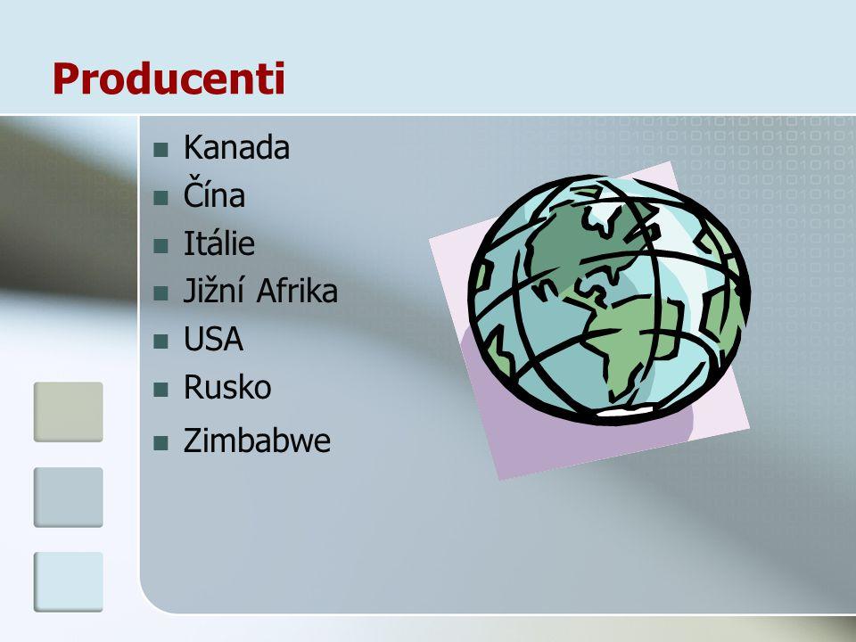 Producenti Kanada Čína Itálie Jižní Afrika USA Rusko Zimbabwe