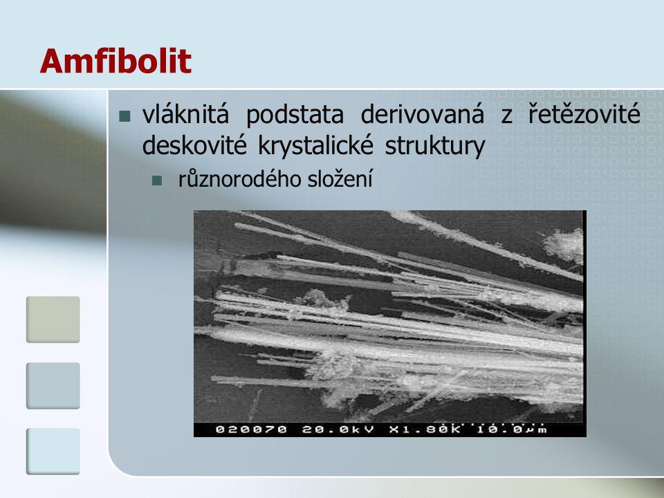 Amfibolit vláknitá podstata derivovaná z řetězovité deskovité krystalické struktury různorodého složení