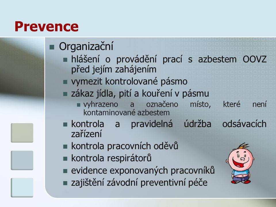 Prevence Organizační hlášení o provádění prací s azbestem OOVZ před jejím zahájením vymezit kontrolované pásmo zákaz jídla, pití a kouření v pásmu vyh