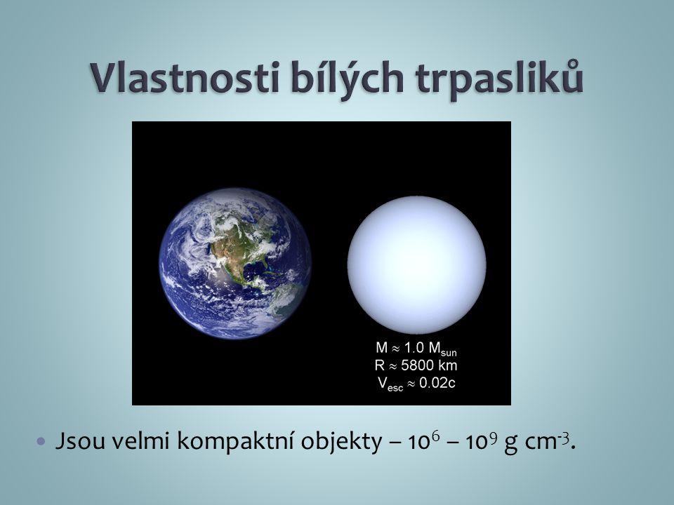 Jsou velmi kompaktní objekty – 10 6 – 10 9 g cm -3.