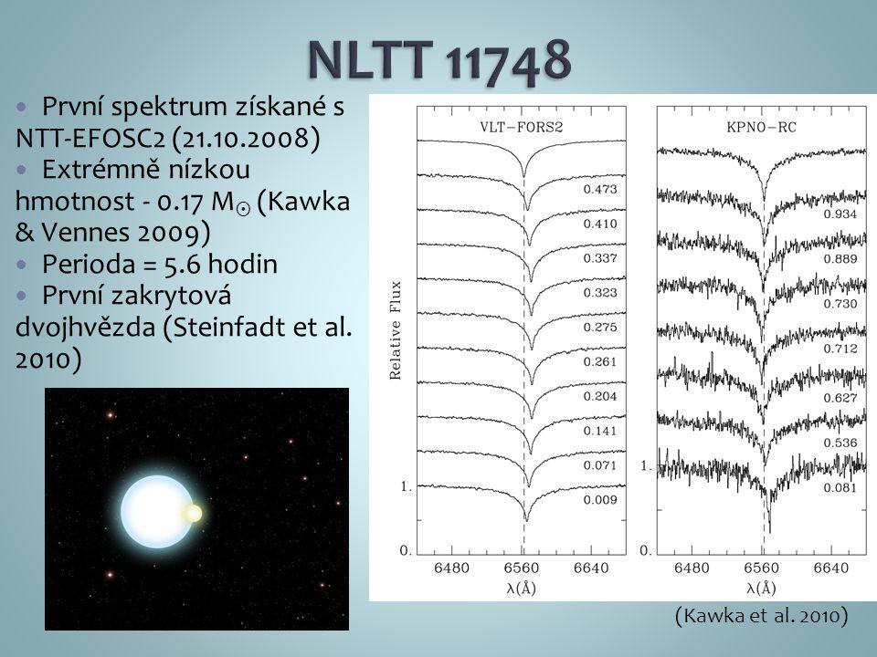 První spektrum získané s NTT-EFOSC2 (21.10.2008) Extrémně nízkou hmotnost - 0.17 M  (Kawka & Vennes 2009) Perioda = 5.6 hodin První zakrytová dvojhvězda (Steinfadt et al.