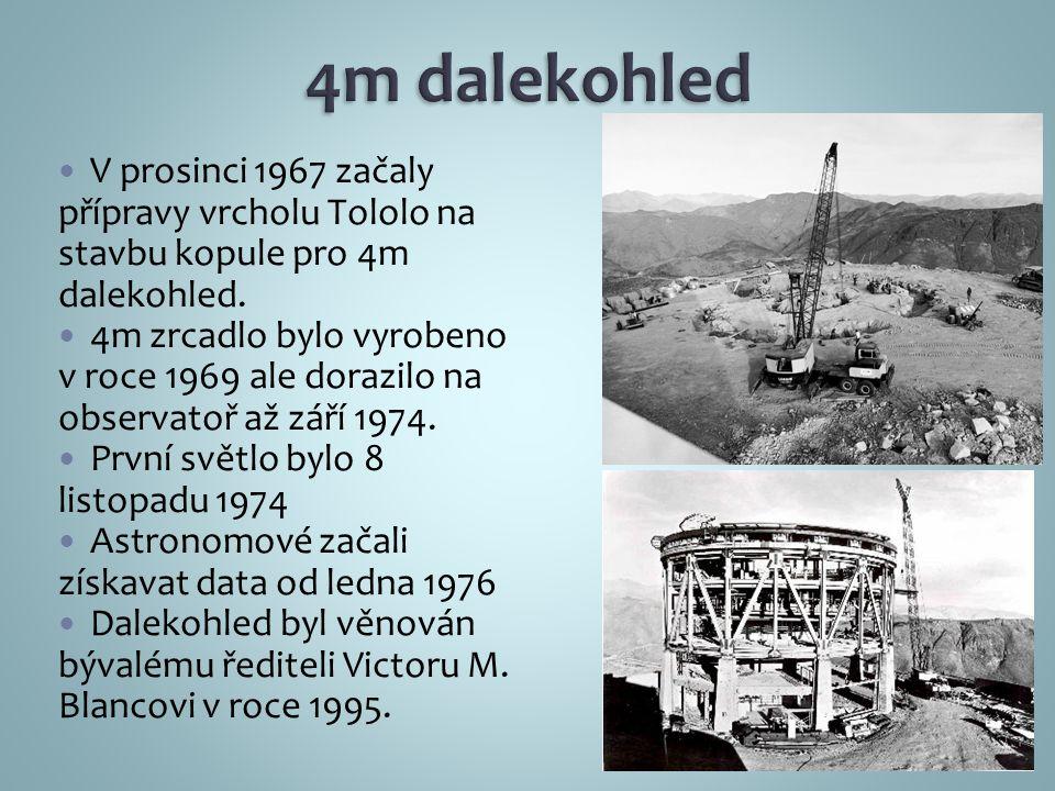 V prosinci 1967 začaly přípravy vrcholu Tololo na stavbu kopule pro 4m dalekohled.