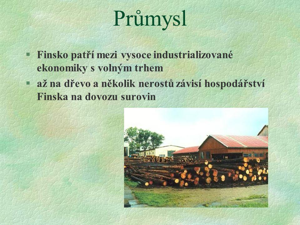 Průmysl  Finsko patří mezi vysoce industrializované ekonomiky s volným trhem  až na dřevo a několik nerostů závisí hospodářství Finska na dovozu sur