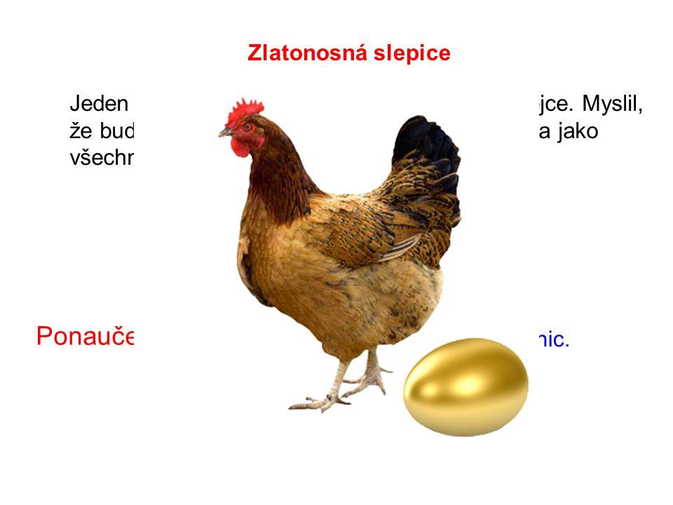 Jeden člověk měl slepici, která snášela zlatá vejce.