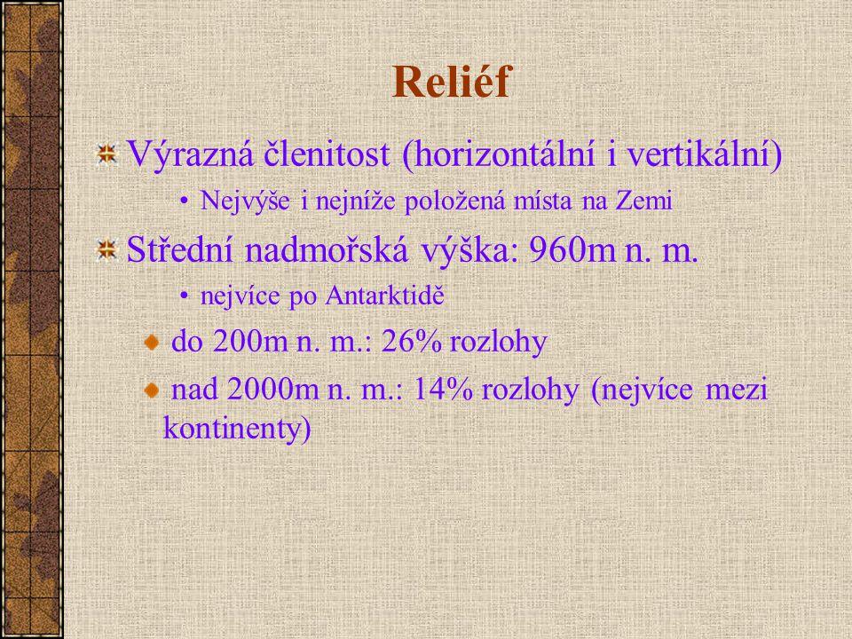 Reliéf Výrazná členitost (horizontální i vertikální) Nejvýše i nejníže položená místa na Zemi Střední nadmořská výška: 960m n.