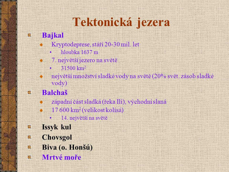 Tektonická jezera Bajkal Kryptodeprese, stáří 20-30 mil.