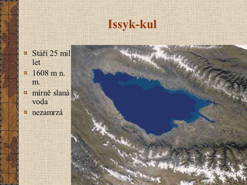 Issyk-kul Stáří 25 mil. let 1608 m n. m. mírně slaná voda nezamrzá