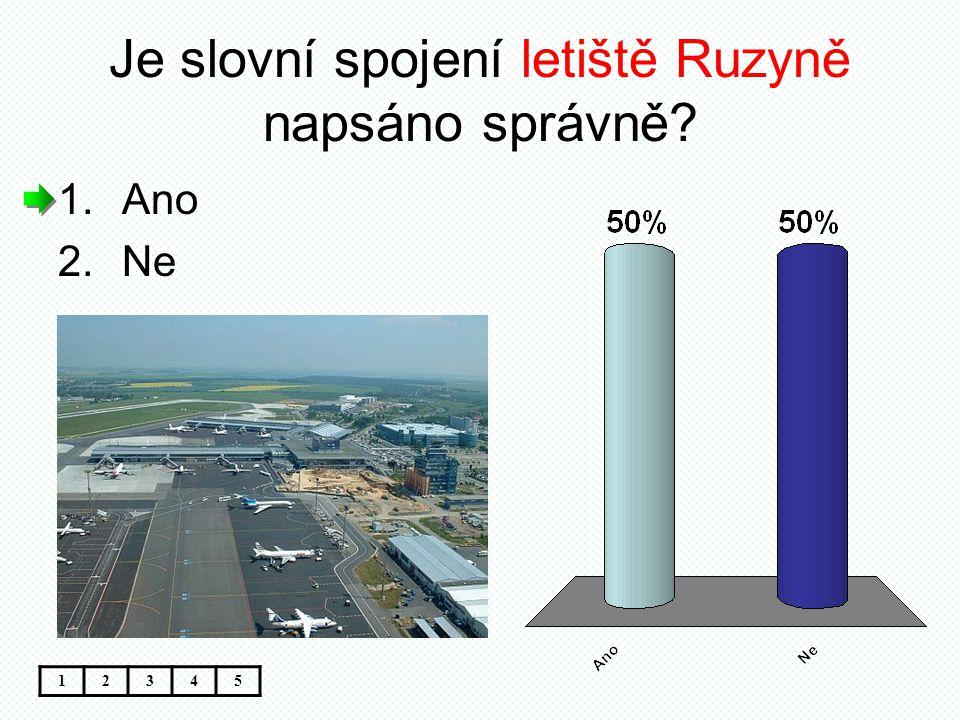 Je slovní spojení letiště Ruzyně napsáno správně? 12345 1.Ano 2.Ne