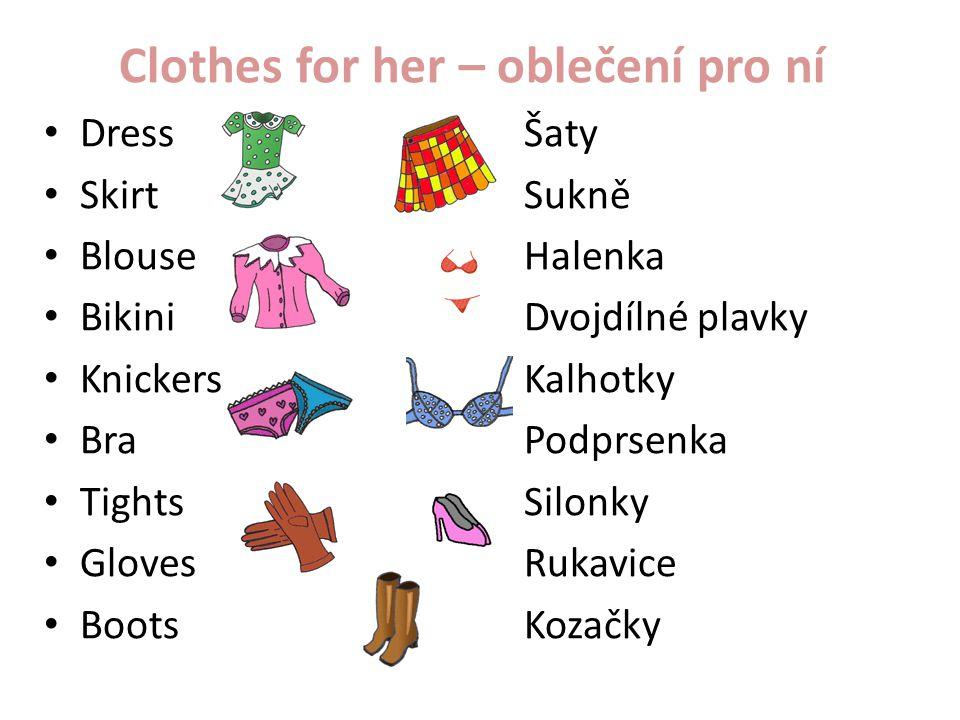 Clothes for her – oblečení pro ní DressŠaty SkirtSukně BlouseHalenka BikiniDvojdílné plavky KnickersKalhotky BraPodprsenka TightsSilonky GlovesRukavic