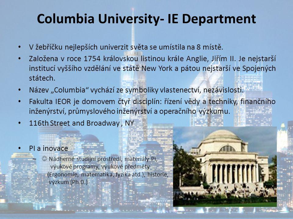 Columbia University- IE Department V žebříčku nejlepších univerzit světa se umístila na 8 místě. Založena v roce 1754 královskou listinou krále Anglie
