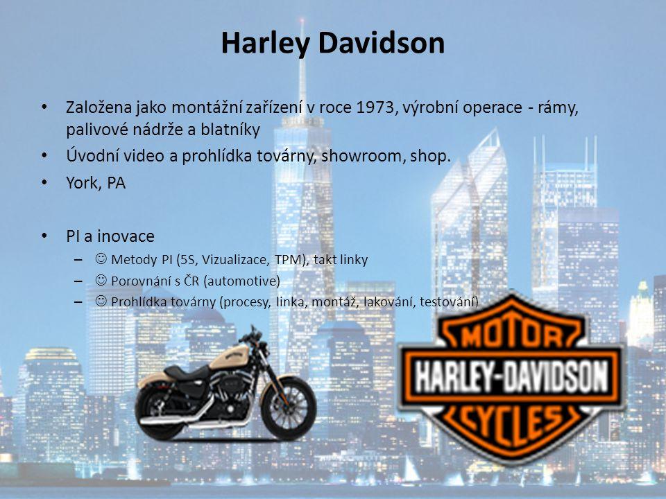 Harley Davidson Založena jako montážní zařízení v roce 1973, výrobní operace - rámy, palivové nádrže a blatníky Úvodní video a prohlídka továrny, show