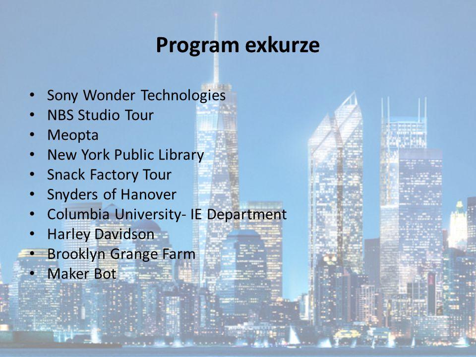 Program exkurze Sony Wonder Technologies NBS Studio Tour Meopta New York Public Library Snack Factory Tour Snyders of Hanover Columbia University- IE Department Harley Davidson Brooklyn Grange Farm Maker Bot