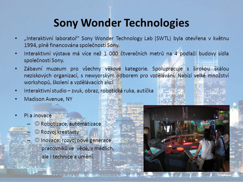 """Sony Wonder Technologies """"Interaktivní laboratoř"""" Sony Wonder Technology Lab (SWTL) byla otevřena v květnu 1994, plně financována společností Sony. In"""