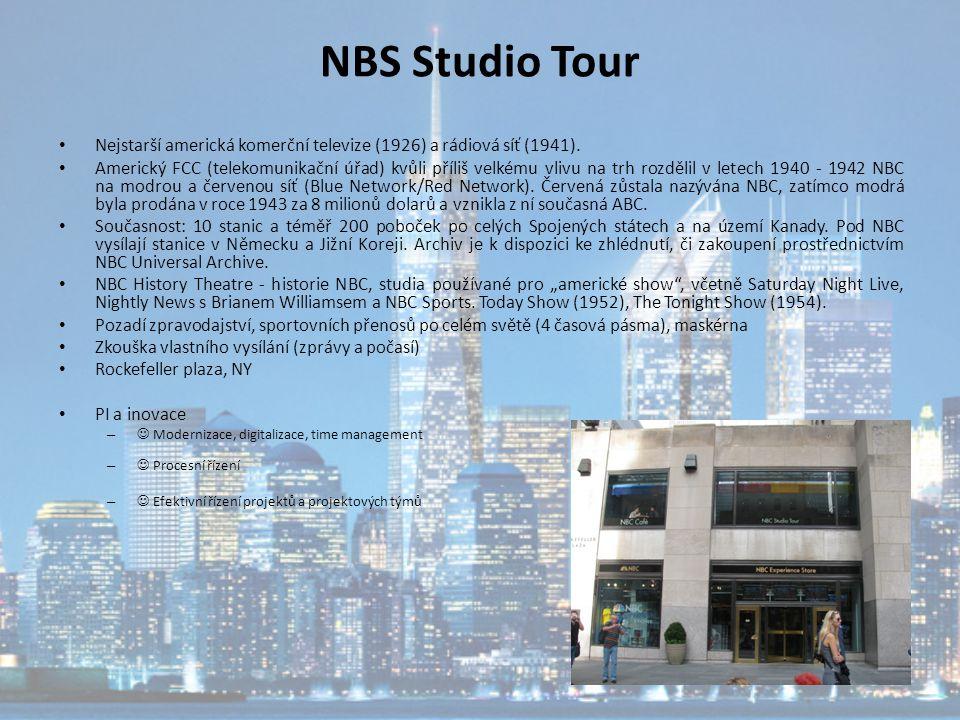 NBS Studio Tour Nejstarší americká komerční televize (1926) a rádiová síť (1941). Americký FCC (telekomunikační úřad) kvůli příliš velkému vlivu na tr