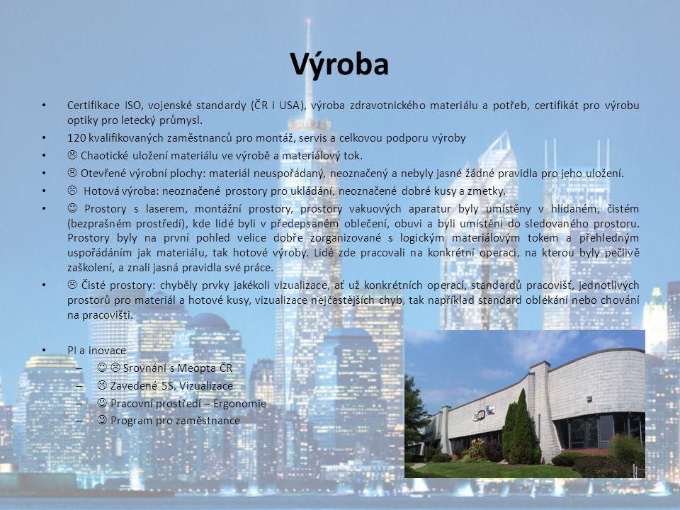Výroba Certifikace ISO, vojenské standardy (ČR i USA), výroba zdravotnického materiálu a potřeb, certifikát pro výrobu optiky pro letecký průmysl. 120