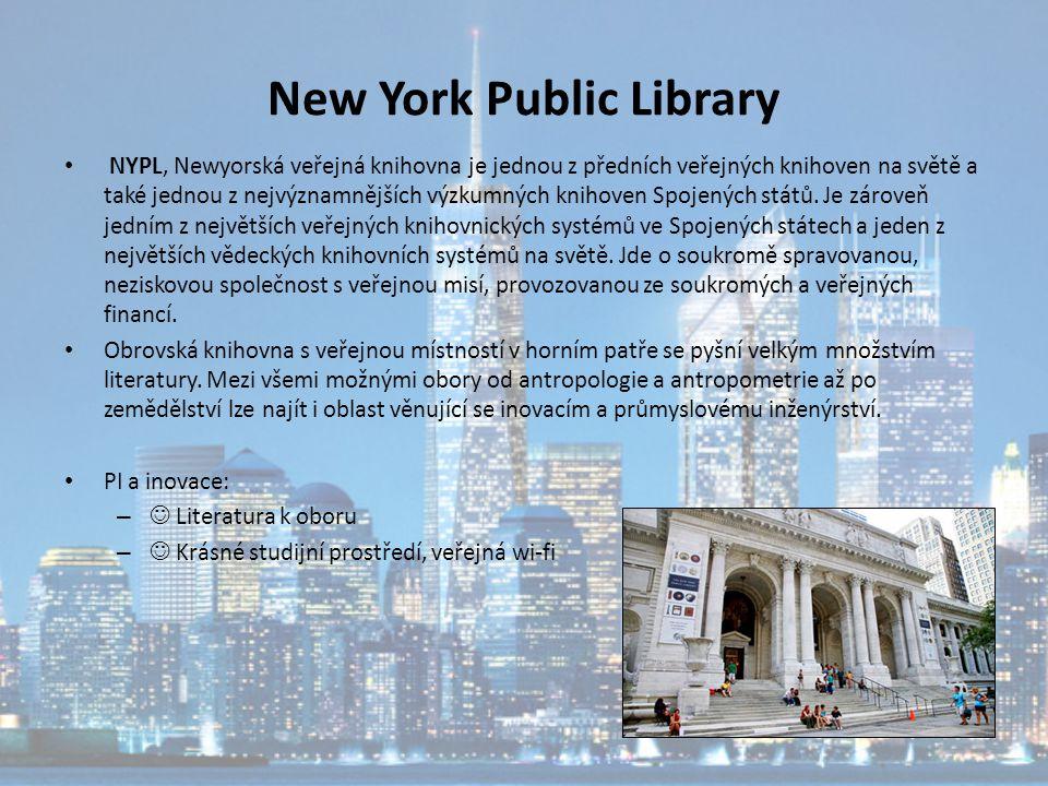New York Public Library NYPL, Newyorská veřejná knihovna je jednou z předních veřejných knihoven na světě a také jednou z nejvýznamnějších výzkumných