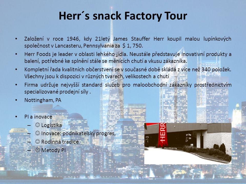 Herr´s snack Factory Tour Založení v roce 1946, kdy 21letý James Stauffer Herr koupil malou lupínkových společnost v Lancasteru, Pennsylvania za $ 1,