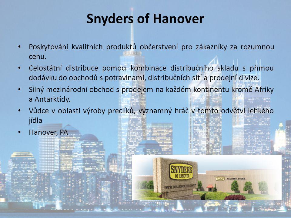 Snyders of Hanover Poskytování kvalitních produktů občerstvení pro zákazníky za rozumnou cenu. Celostátní distribuce pomocí kombinace distribučního sk