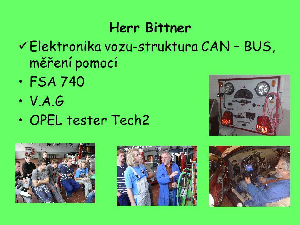 Herr Bittner Elektronika vozu-struktura CAN – BUS, měření pomocí FSA 740 V.A.G OPEL tester Tech2
