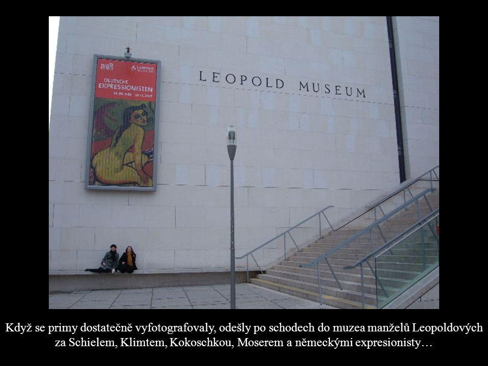 Když se primy dostatečně vyfotografovaly, odešly po schodech do muzea manželů Leopoldových za Schielem, Klimtem, Kokoschkou, Moserem a německými expresionisty…