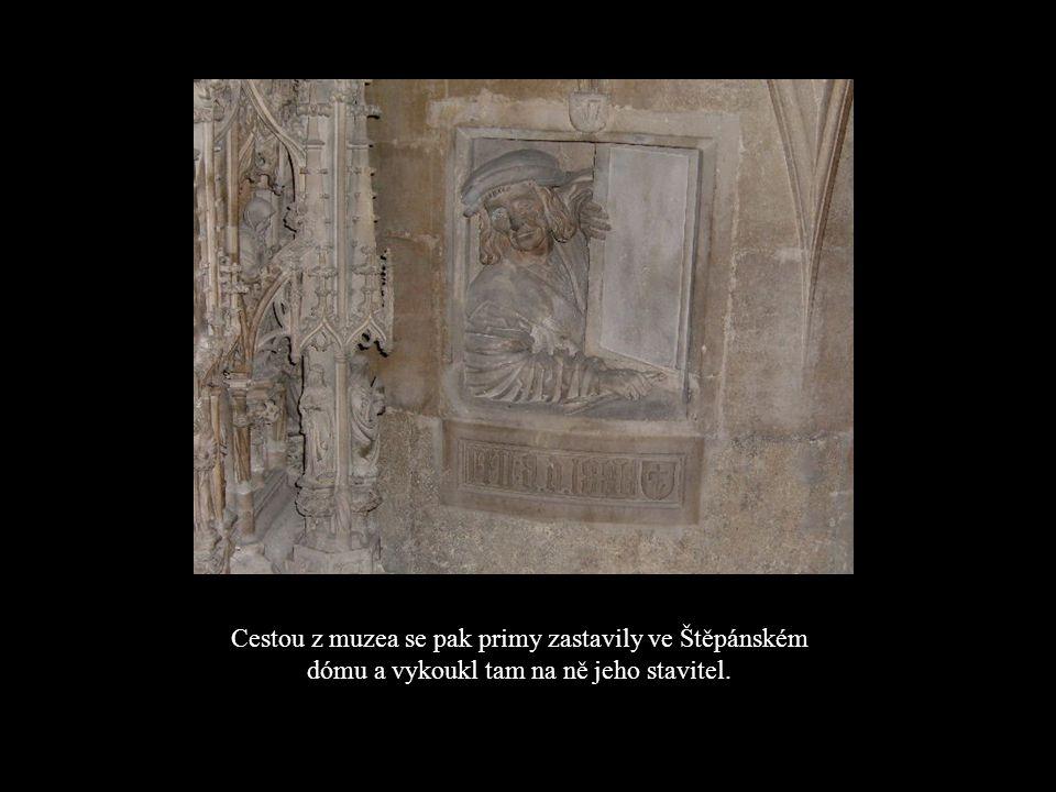 Cestou z muzea se pak primy zastavily ve Štěpánském dómu a vykoukl tam na ně jeho stavitel.