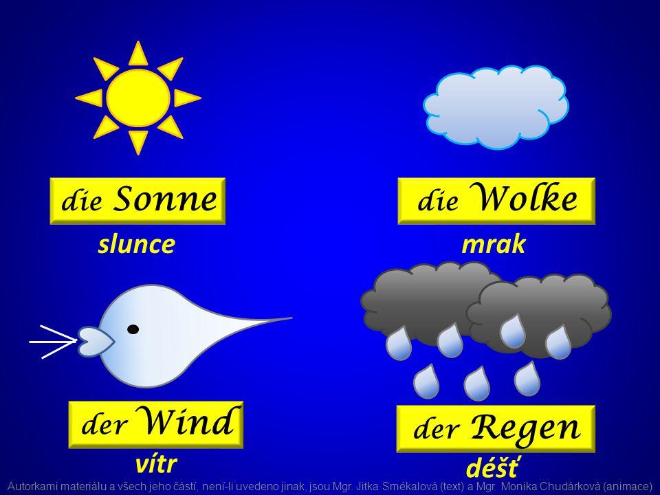 die Sonne die Wolke der Wind der Regen sluncemrak vítr déšť Autorkami materiálu a všech jeho částí, není-li uvedeno jinak, jsou Mgr.