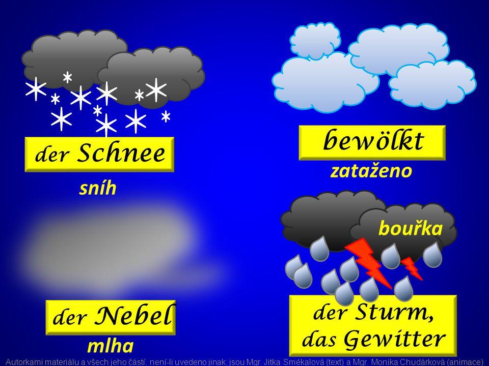 der Sturm, das Gewitter der Schnee bewölkt der Nebel sníh zataženo mlha bouřka Autorkami materiálu a všech jeho částí, není-li uvedeno jinak, jsou Mgr.