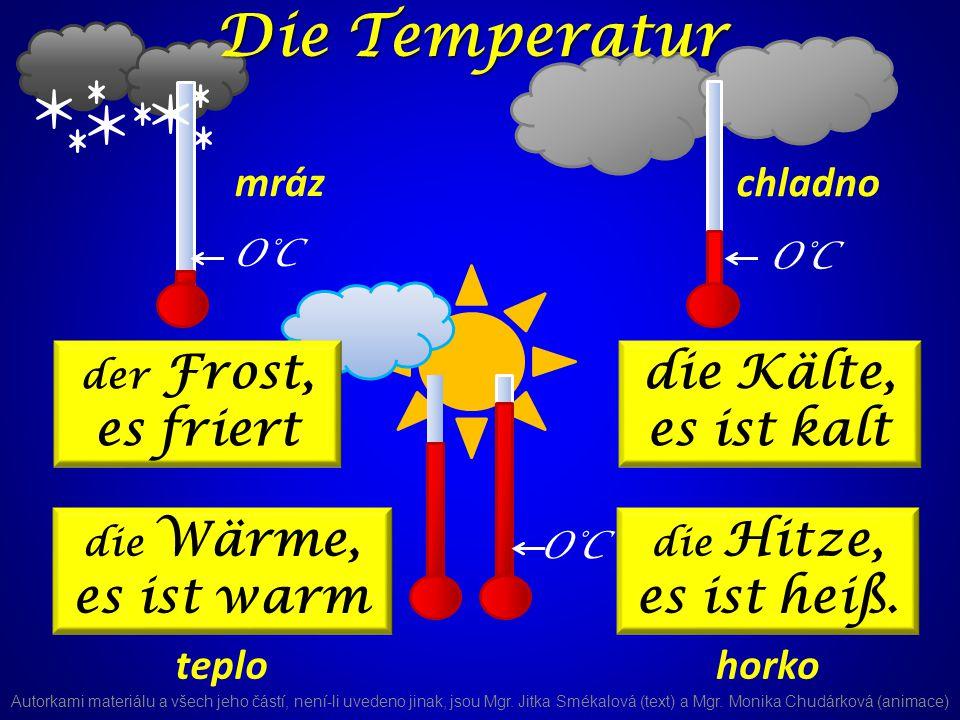 die Wärme, es ist warm O°C der Frost, es friert die Kälte, es ist kalt die Hitze, es ist heiß.