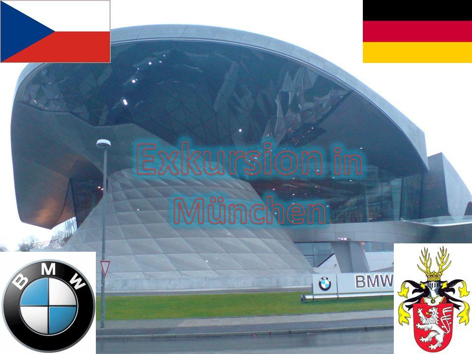 Reise nach München Cesta do Mnichova Olympia Park Olympijský park Sehenswürdigkeiten von München Pam ě tihodnosti Mnichova BMW- Bayern - Motorwerk Bavorská motorová továrna München in der Nacht Mnichov v noci Abfahrt nach Olmütz Návrat do Olomouce