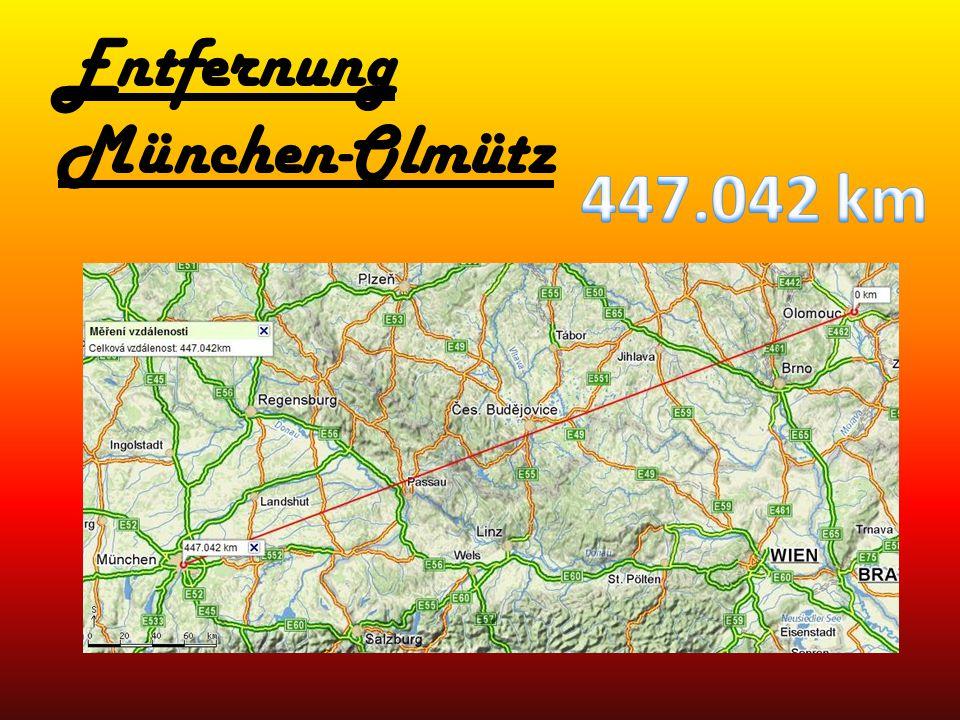 Entfernung München-Olmütz
