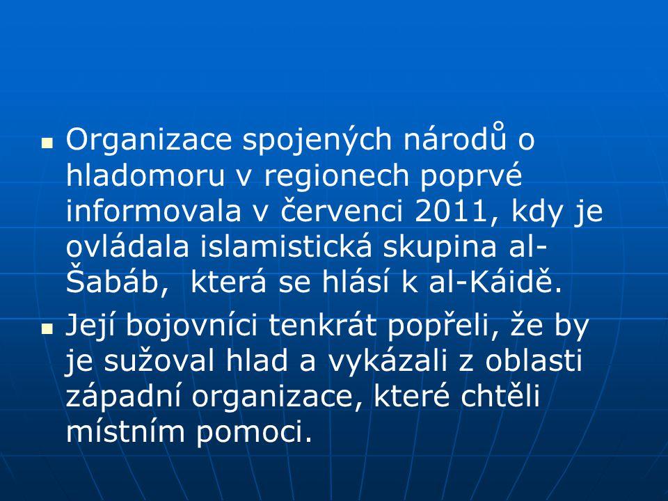 Organizace spojených národů o hladomoru v regionech poprvé informovala v červenci 2011, kdy je ovládala islamistická skupina al- Šabáb, která se hlásí k al-Káidě.