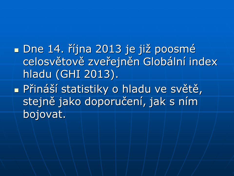 Dne 14. října 2013 je již poosmé celosvětově zveřejněn Globální index hladu (GHI 2013). Dne 14. října 2013 je již poosmé celosvětově zveřejněn Globáln