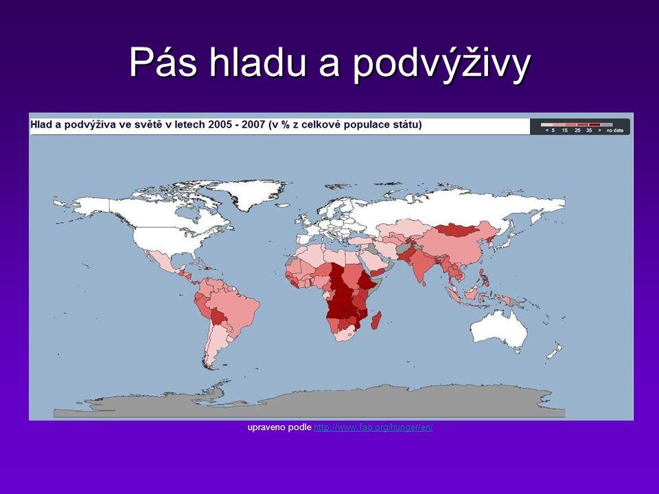 Pás hladu a podvýživy upraveno podle http://www.fao.org/hunger/en/http://www.fao.org/hunger/en/