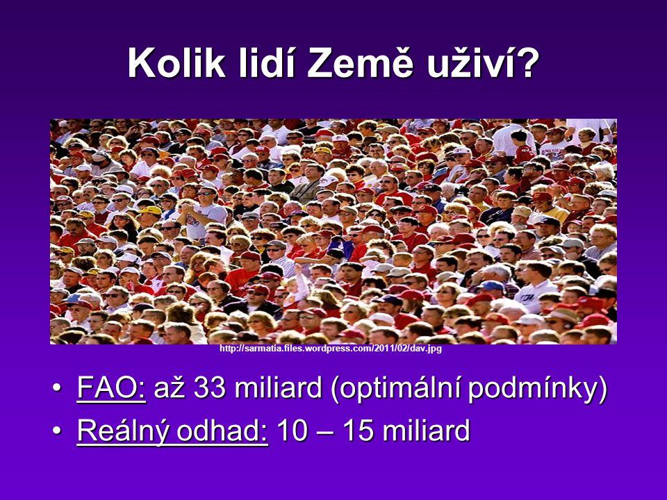 Kolik lidí Země uživí? FAO: až 33 miliard (optimální podmínky)FAO: až 33 miliard (optimální podmínky) Reálný odhad: 10 – 15 miliardReálný odhad: 10 –