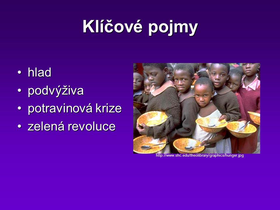Klíčové pojmy hladhlad podvýživapodvýživa potravinová krizepotravinová krize zelená revolucezelená revoluce http://www.shc.edu/theolibrary/graphics/hunger.jpg